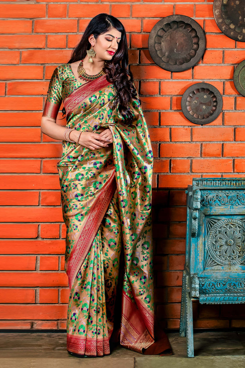 Rich Gold Banarasi Silk Saree - Meher Silk by Manjubaa