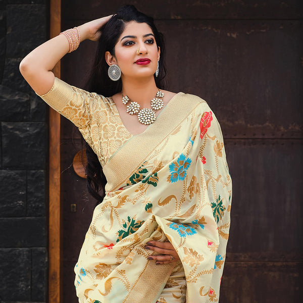 Off White Banarasi Silk Saree - Meher Silk by Manjubaa
