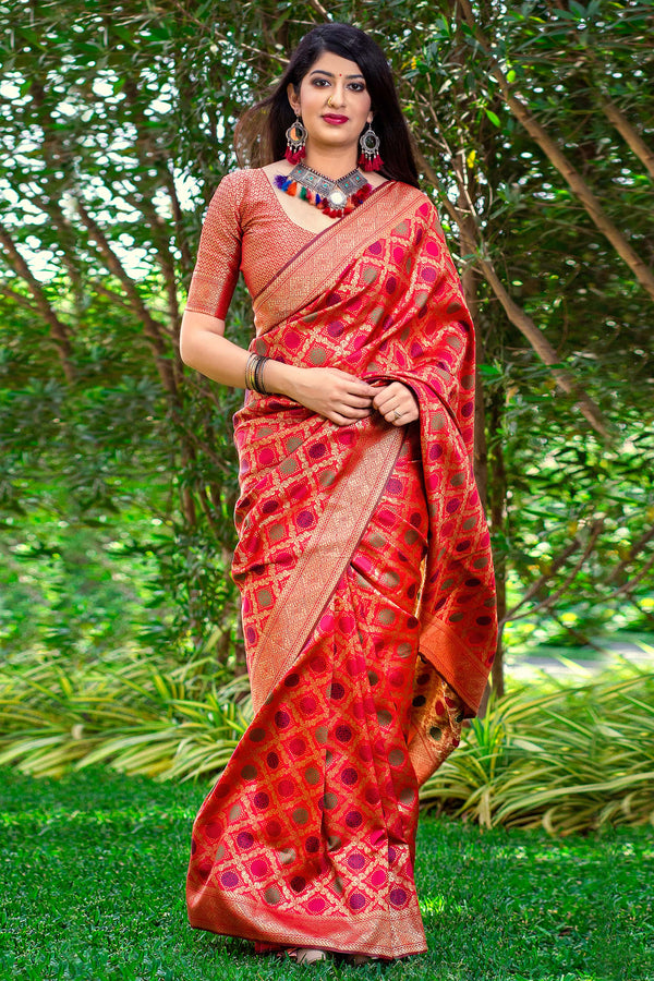 Red Banarasi Silk Saree - Meher Silk by Manjubaa