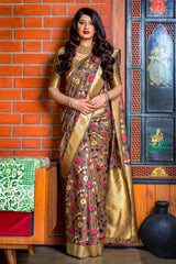 Rust Banarasi Silk Saree - Meher Silk by Manjubaa