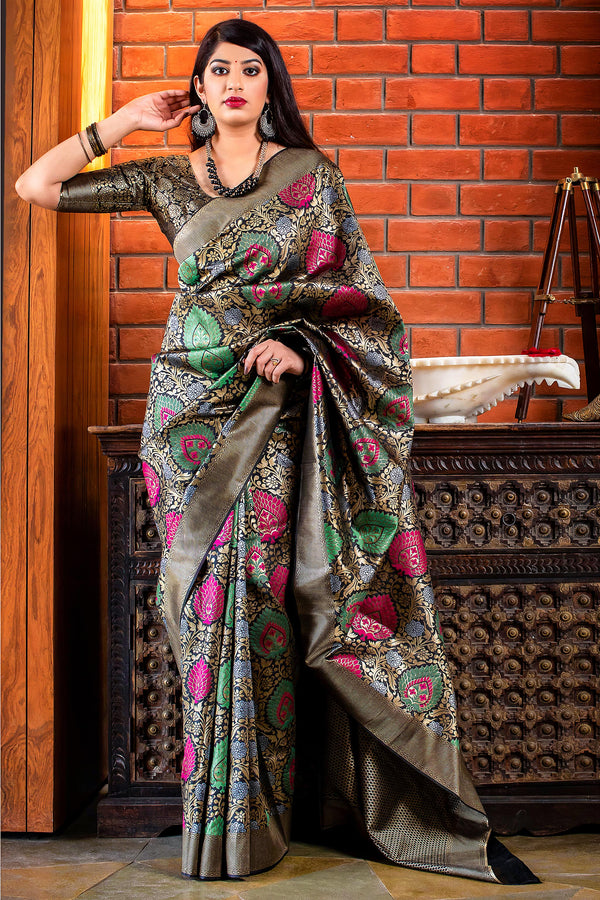 Black And Gold Banarasi Silk Saree - Meher Silk by Manjubaa