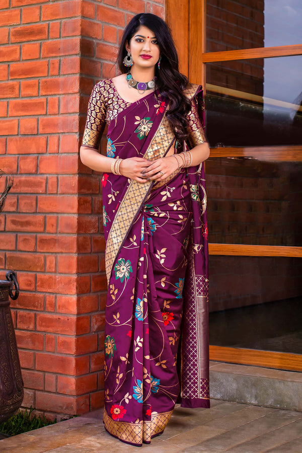 Wine Banarasi Silk Saree - Meher Silk by Manjubaa