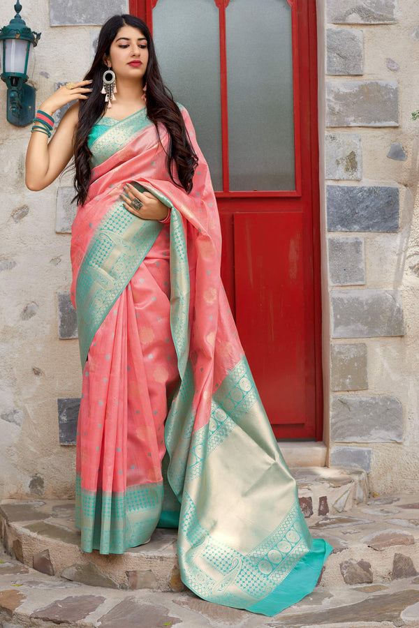 Light Pink Banarasi Art Silk Saree - Mangalaya Silk by Manjubaa