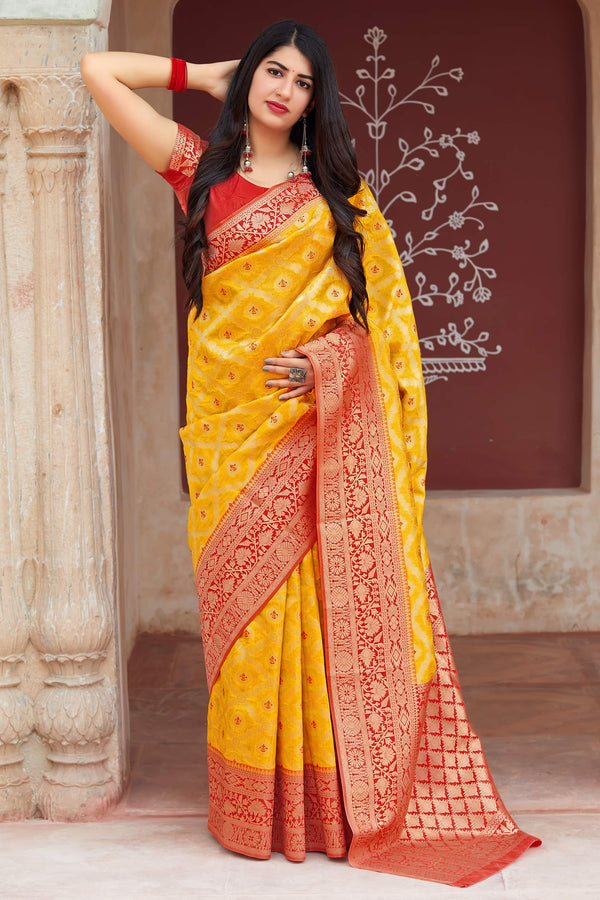 Lemon Yellow Banarasi Art Silk Saree - Mangalaya Silk by Manjubaa