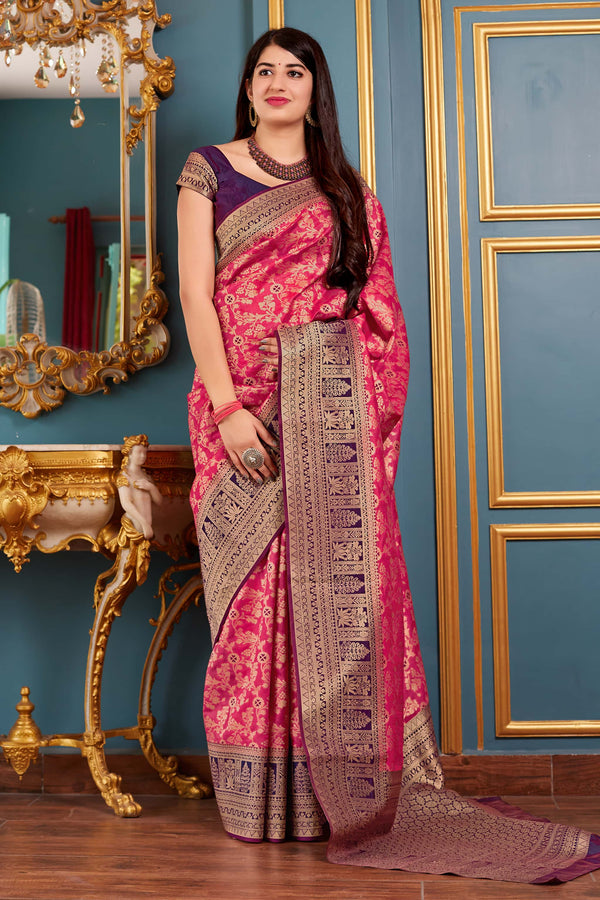 Pink Banarasi Art Silk Saree - Mangalaya Silk by Manjubaa
