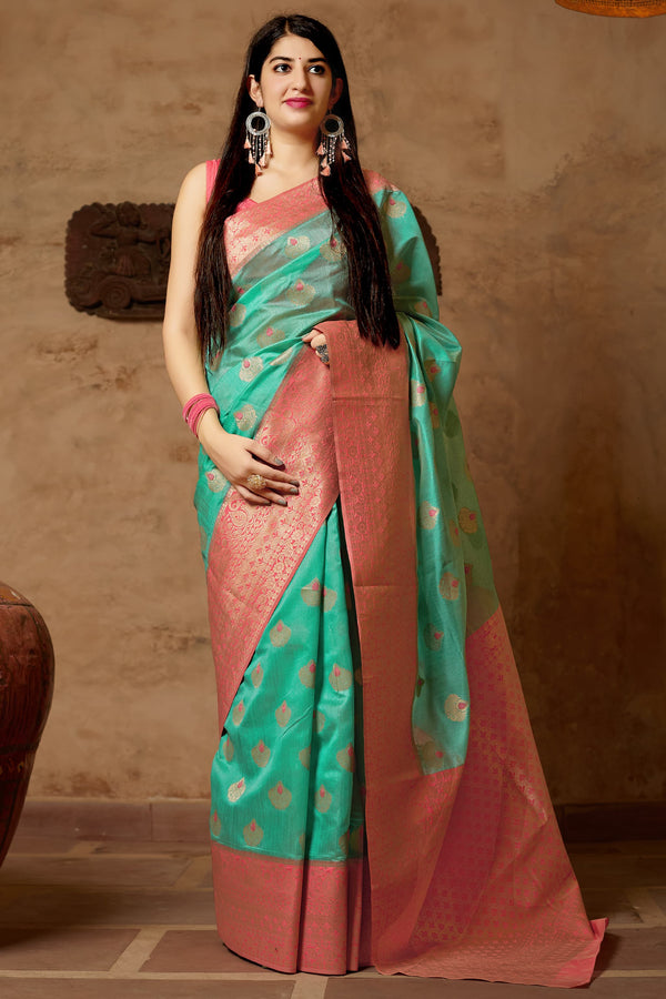 Light Cyan Green Banarasi Art Silk Saree - Mangalaya Silk by Manjubaa
