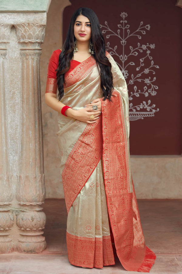 Red And Cream Banarasi Art Silk Saree - Mangalaya Silk by Manjubaa