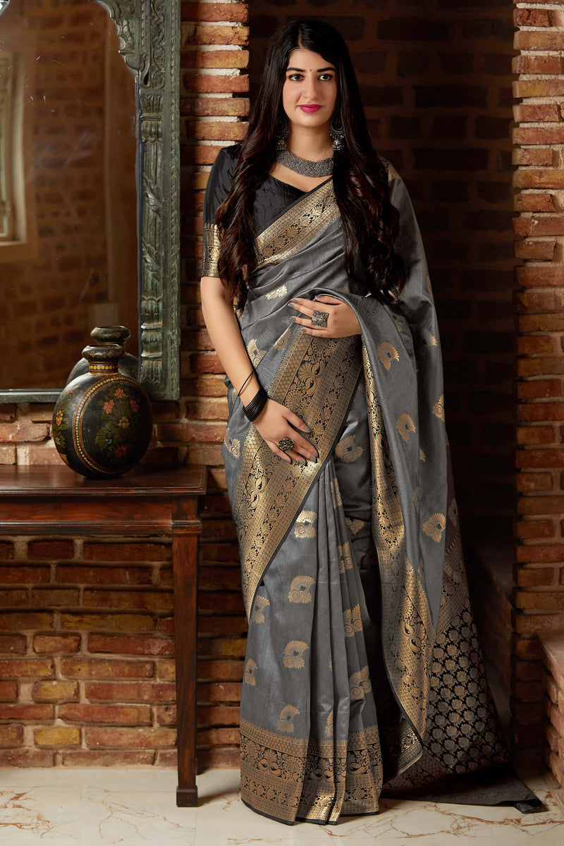 Grey Banarasi Art Silk Saree - Mangalaya Silk by Manjubaa