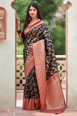 Black Banarasi Art Silk Saree - Mangalaya Silk by Manjubaa