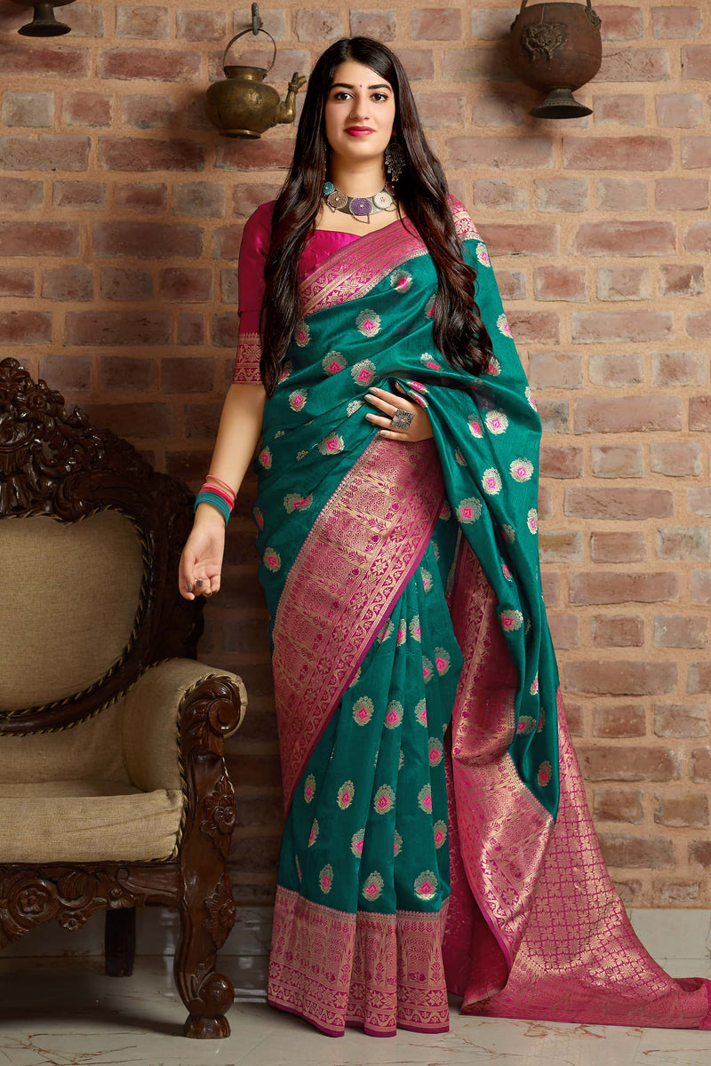 Rama Green Banarasi Art Silk Saree - Mangalaya Silk by Manjubaa