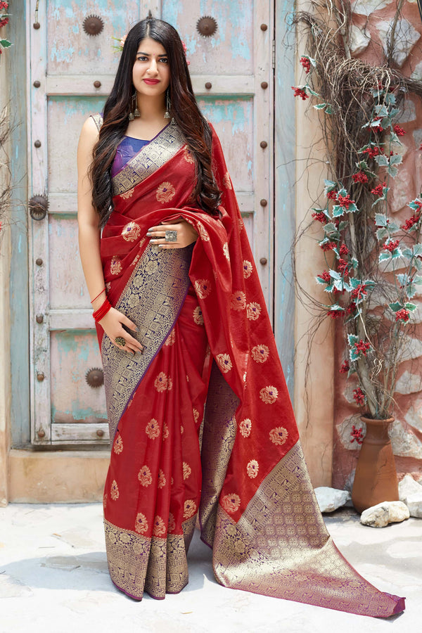 Red Banarasi Art Silk Saree - Mangalaya Silk by Manjubaa