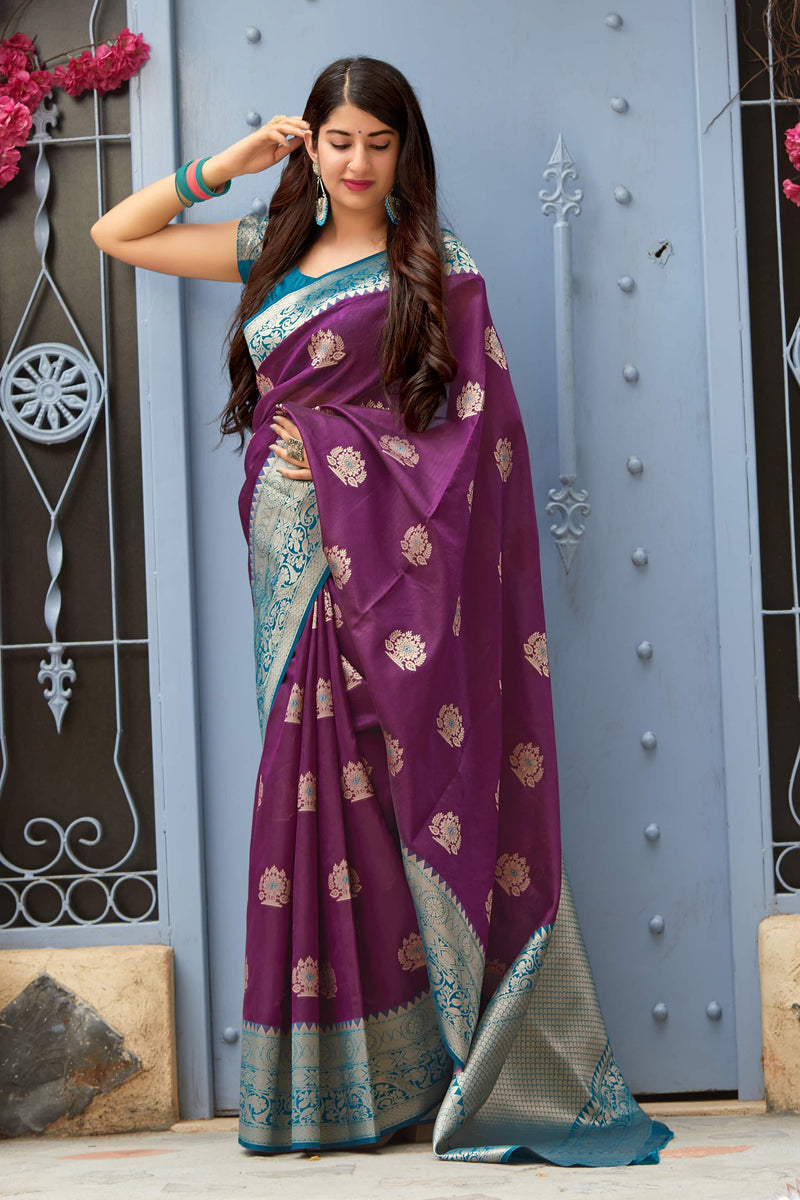 Mulberry Purple Banarasi Art Silk Saree - Mangalaya Silk by Manjubaa