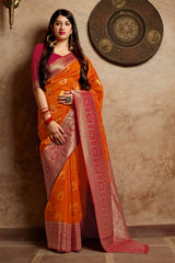 Fire Orange Banarasi Art Silk Saree - Mangalaya Silk by Manjubaa