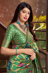 Green Banarasi Silk Saree - Masumi Silk by Manjubaa