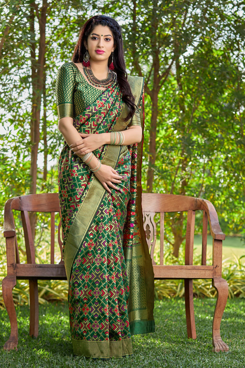 Bottle Green Banarasi Patola Silk Saree - Masumi Silk by Manjubaa