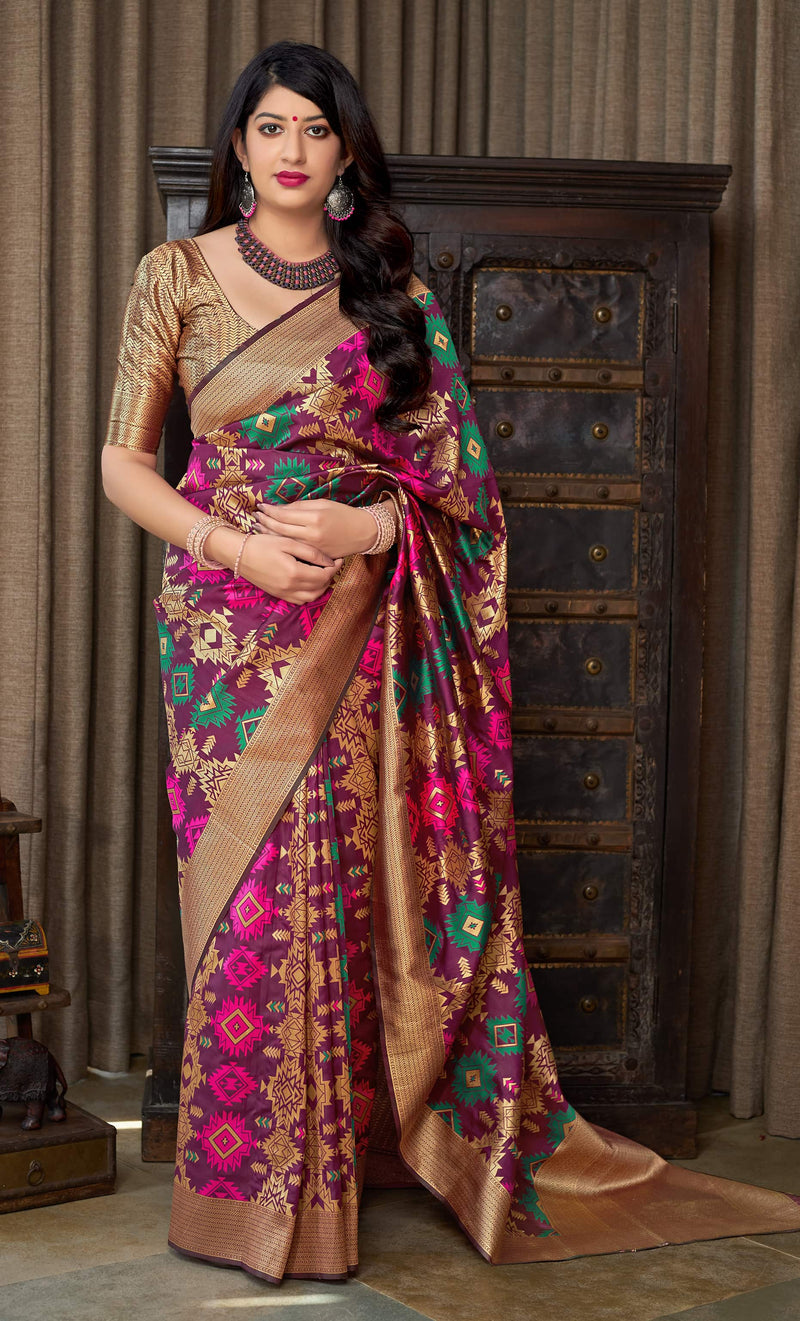 Dark Magenta Banarasi Silk Saree - Masumi Silk by Manjubaa