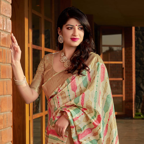 Off White Banarasi Silk Saree - Masumi Silk by Manjubaa
