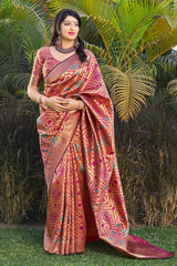 Dark Peach Banarasi Silk Saree - Masumi Silk by Manjubaa