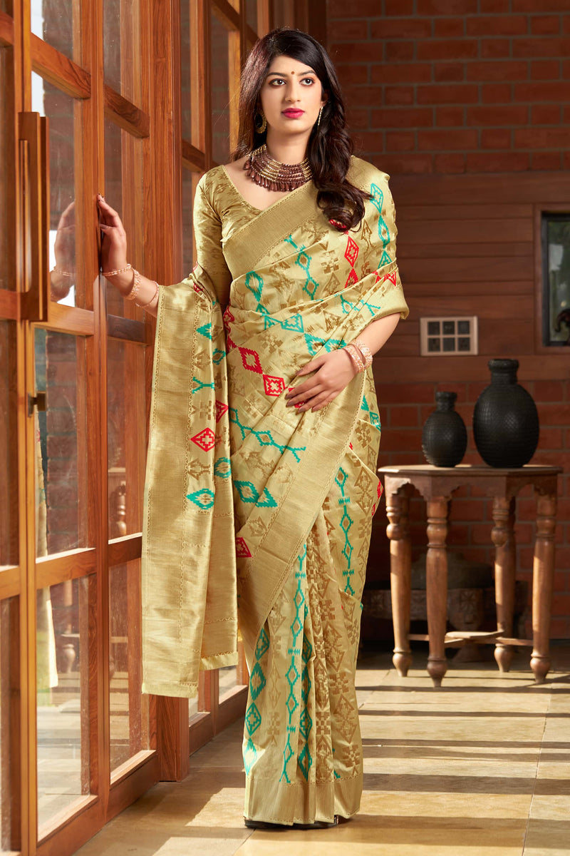 Rich Creamy Gold Banarasi Silk Saree - Masumi Silk by Manjubaa