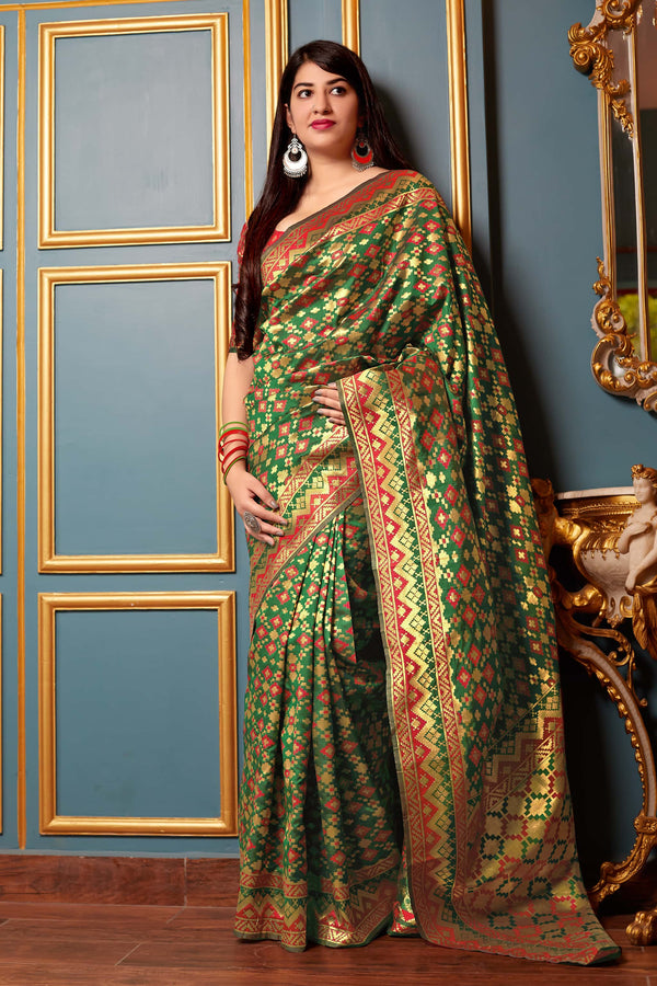 Green And Red Banarasi Patola Silk Saree - Mandakini Silk by Manjubaa