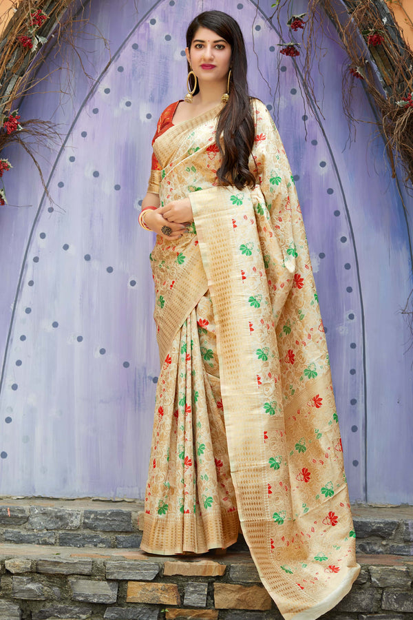 Off White Banarasi Silk Saree - Mandakini Silk by Manjubaa