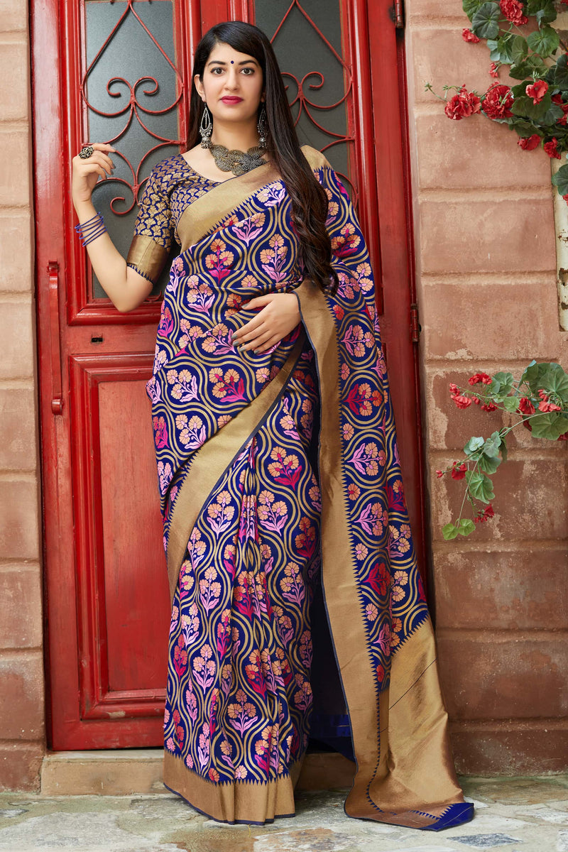 Blue And Pink Banarasi Silk Saree - Mandakini Silk by Manjubaa