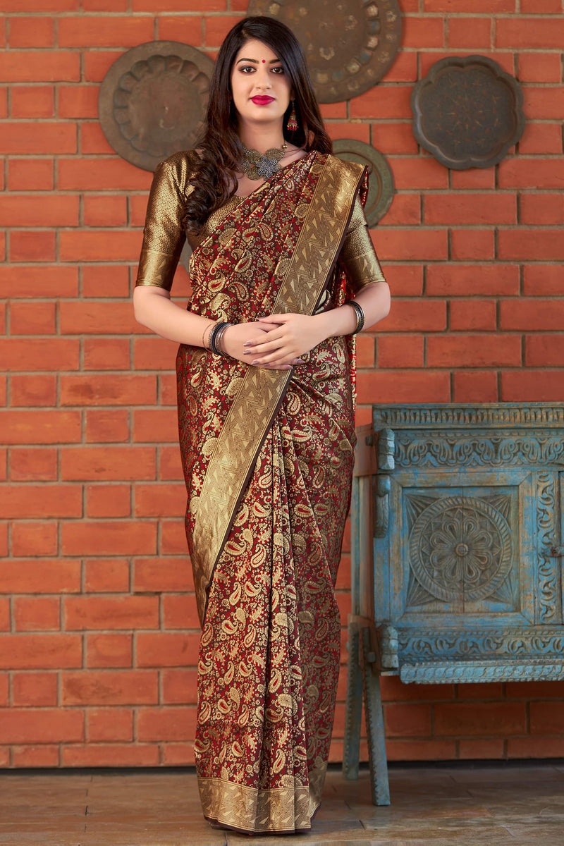 Brown Banarasi Silk Saree - Maharani Silk by Manjubaa