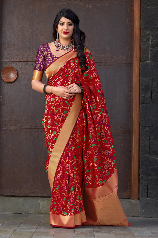 Red Banarasi Silk Saree - Maharani Silk by Manjubaa