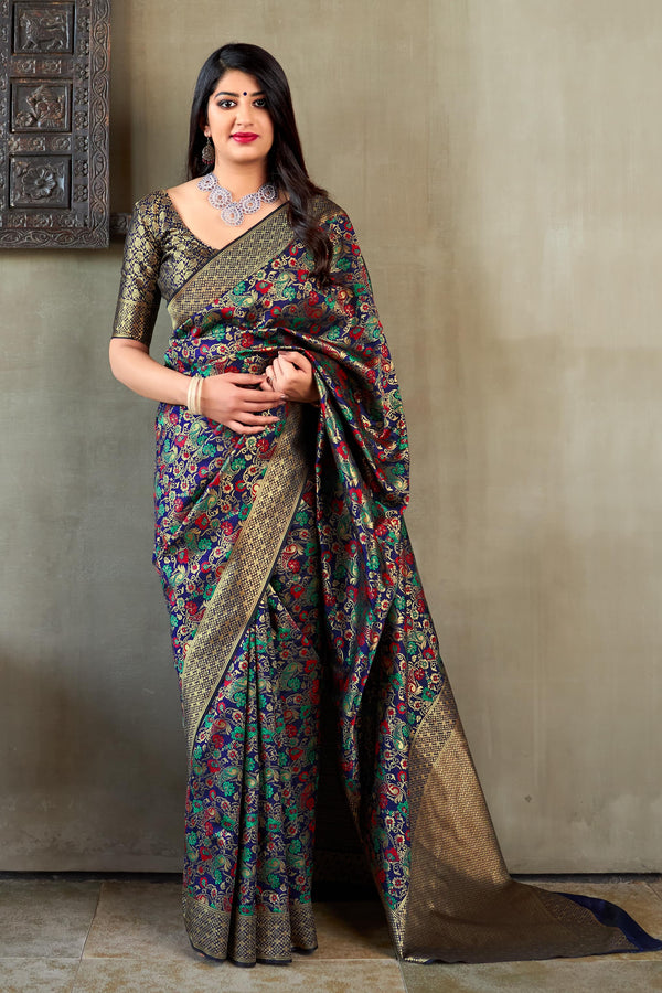 Dark Blue Banarasi Silk Saree - Maharani Silk by Manjubaa