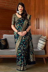 Black Banarasi Silk Saree - Maharani Silk by Manjubaa