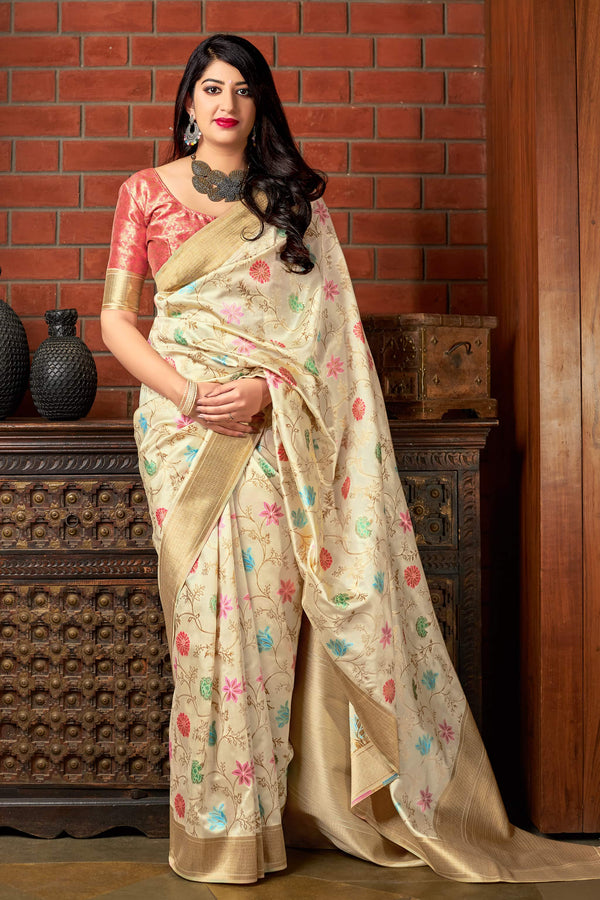 Off White Banarasi Silk Saree - Maharani Silk by Manjubaa