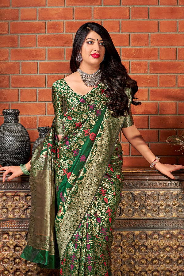 Green Banarasi Silk Saree - Maharani Silk by Manjubaa