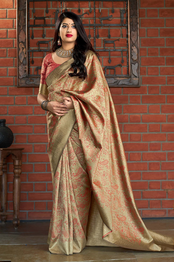 Dark Cream Banarasi Silk Saree - Maharani Silk by Manjubaa
