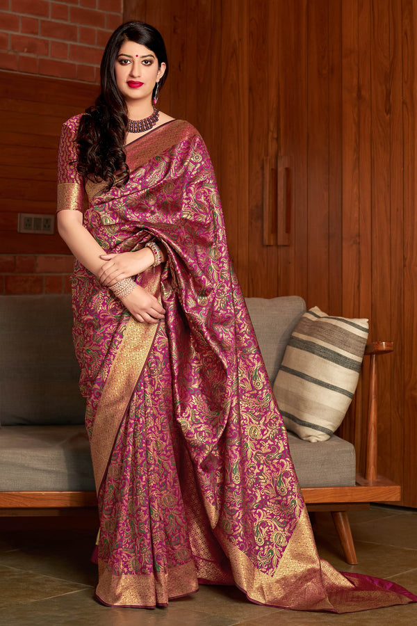 Wine Banarasi Silk Saree - Maharani Silk by Manjubaa