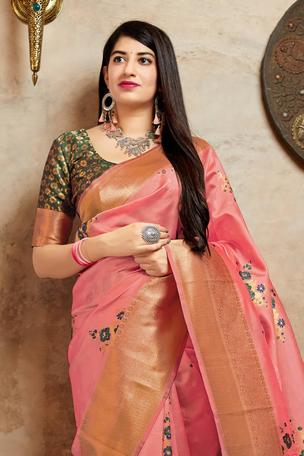 Light Peach Banarasi Silk Saree - Mahima Silk by Manjubaa