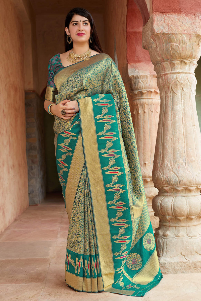 Pine Green And Gold Zari Banarasi Silk Saree - Mahima Silk by Manjubaa