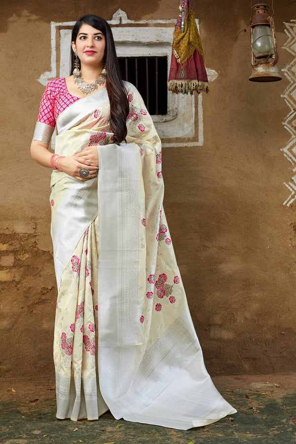 White Banarasi Silk Saree - Mahima Silk by Manjubaa