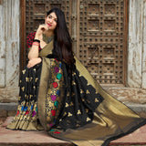 Black Banarasi Silk Saree - Maheesha Silk by Manjubaa