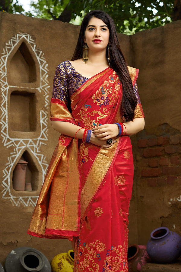 Red Banarasi Silk Saree - Maheesha Silk by Manjubaa