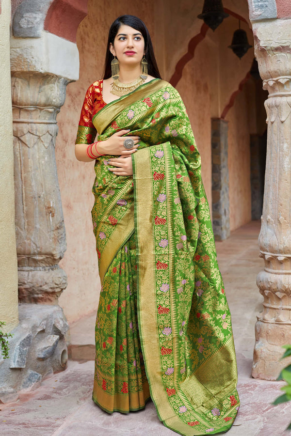 Pear Green Banarasi Silk Saree - Maheesha Silk by Manjubaa