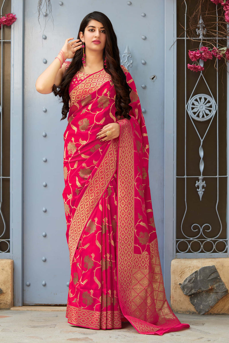 Rani Pink Banarasi Silk Saree - Premium Collection by Manjubaa