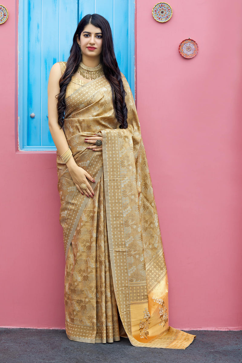 Dark Cream Tanchoi Silk Saree - Premium Collection by Manjubaa