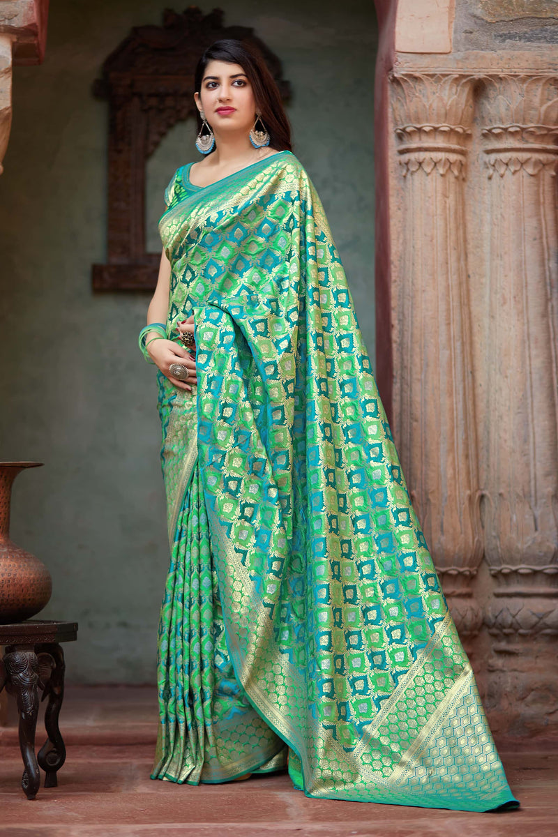 Cyan Banarasi Satin Silk Saree - Premium Collection by Manjubaa