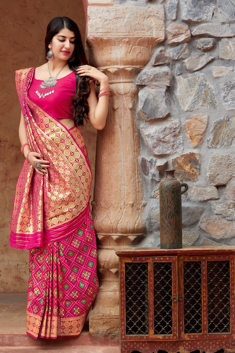 Rani Pink Banarasi Patola Silk Saree - Premium Collection by Manjubaa