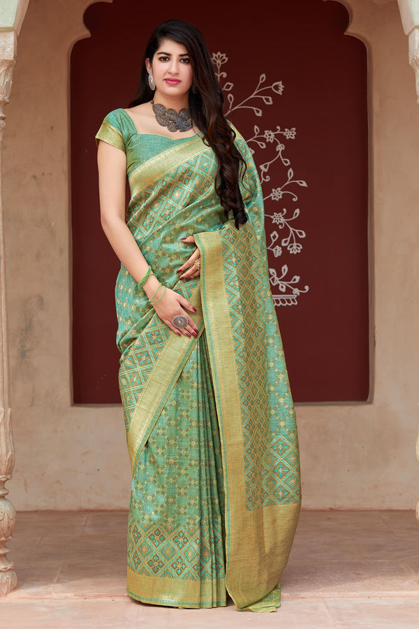 Green Banarasi Tussar Silk Saree - Premium Collection by Manjubaa