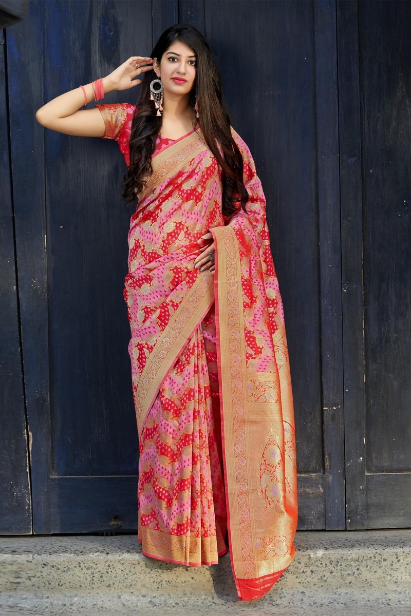 Maroon Banarasi Satin Silk Saree - Premium Collection by Manjubaa