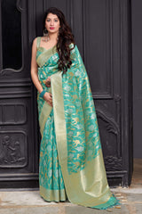 Cyan Green Banarasi Art Silk Saree - Maryada Silk by Manjubaa
