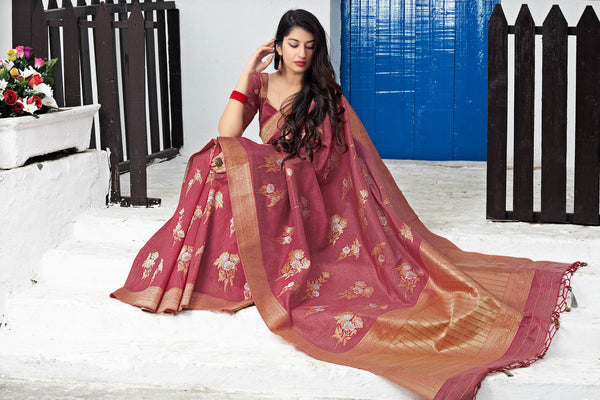 Maroon Banarasi Silk Saree - Maryada Silk by Manjubaa