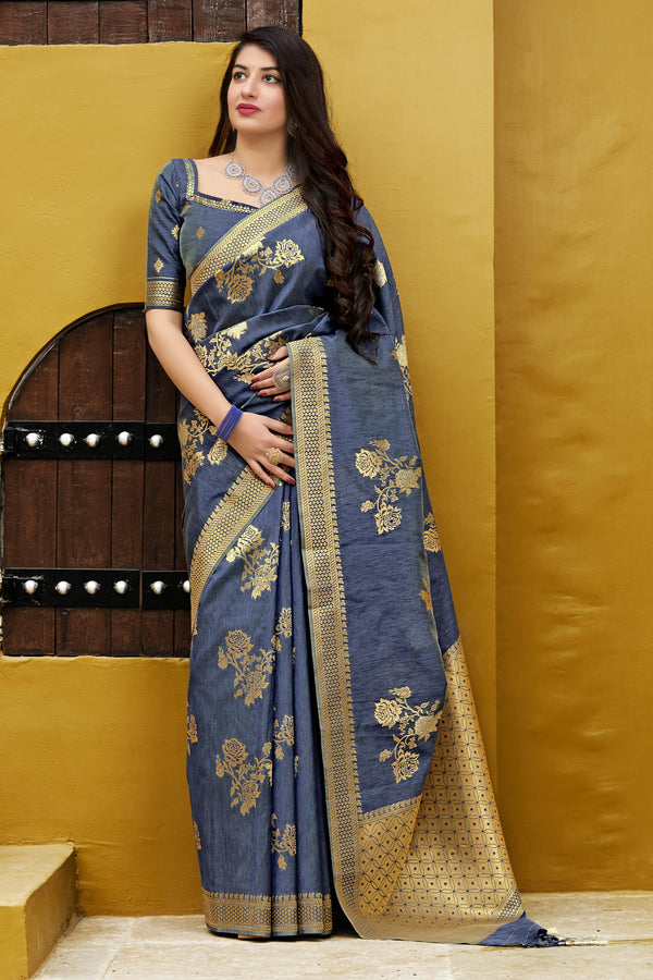 Blue Banarasi Art Silk Saree - Maryada Silk by Manjubaa