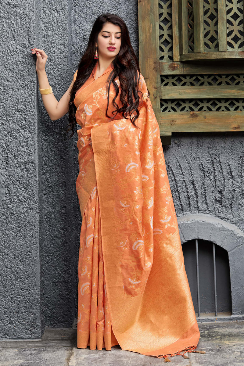Orange Banarasi Art Silk Saree - Maryada Silk by Manjubaa